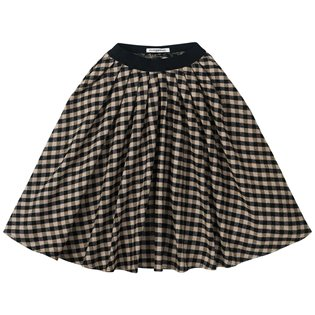 Flannel Checked Midi Skirt - Black / Caramel