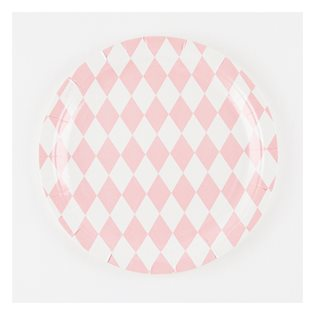 8 Pink Diamonds Paper Plates