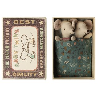 Maileg Matchbox Mouse - Baby Twins (Red/Blue Stripe)