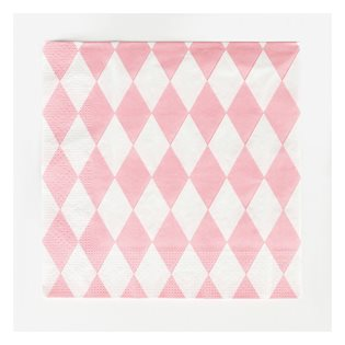 20 Pink Diamonds Paper Napkins