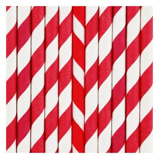 25 Red Stripe Paper Straws