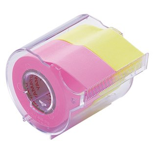 Yamato Memoc Roll Tape Fluro Pink & Yellow inc Dispenser