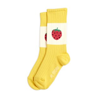 Strawberry Ribbed Socks - Yellow